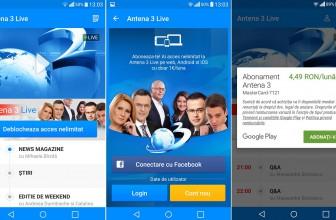 Aplicatia Antena 3 Live costa, B1TV se vede gratis pe telefon cu Android