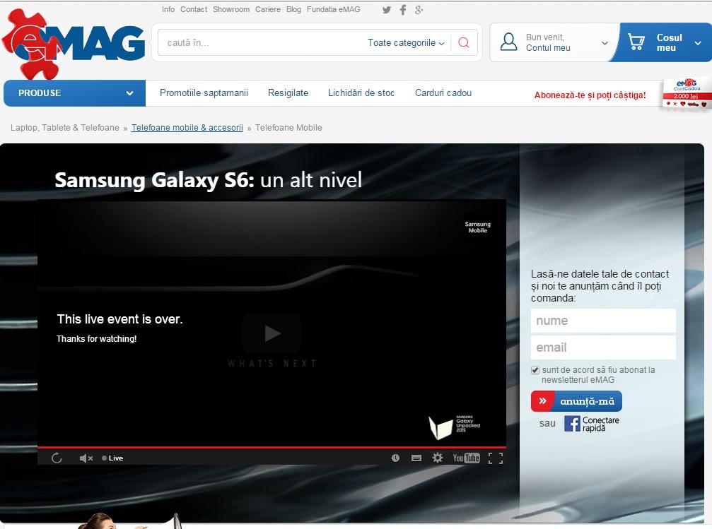 etyrf Samsung Galaxy S6 Apare La eMag Fara Pret