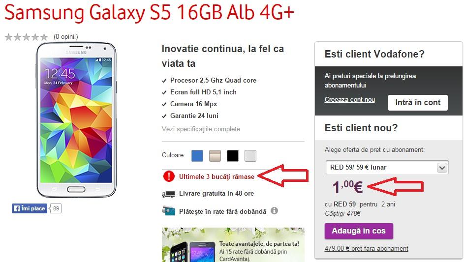 wtrfgdsfZ Reduceri telefoane, Samsung Galaxy S5 nou la 1 euro