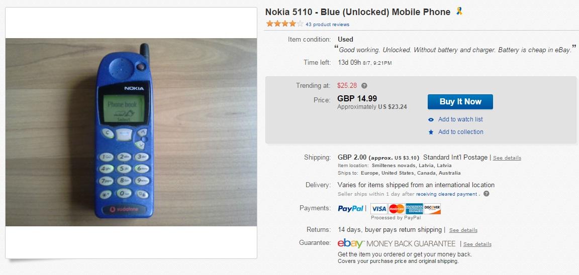 asf Iata cat mai costa un telefon clasic Nokia pe eBay
