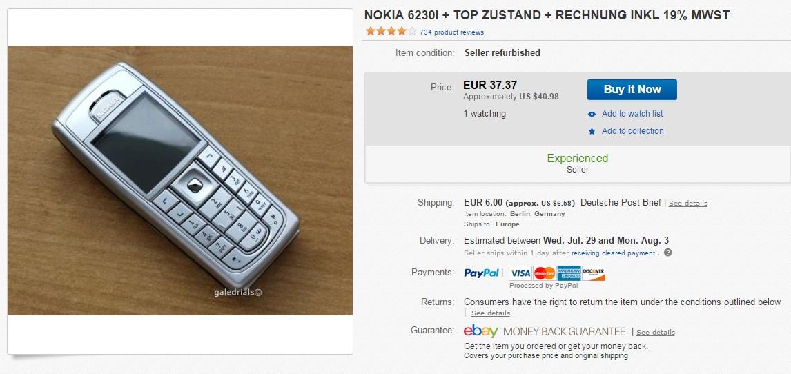 ew4 Iata cat mai costa un telefon clasic Nokia pe eBay