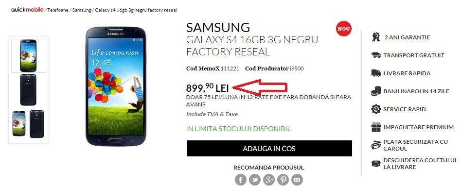 rtjhvc Samsung Galaxy S4 pret 899 lei pe quickmobile.ro
