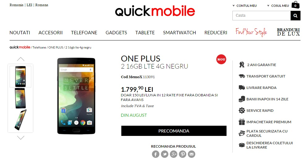 sgs One Plus 2 in Romania prin Quickmobile, iata pretul