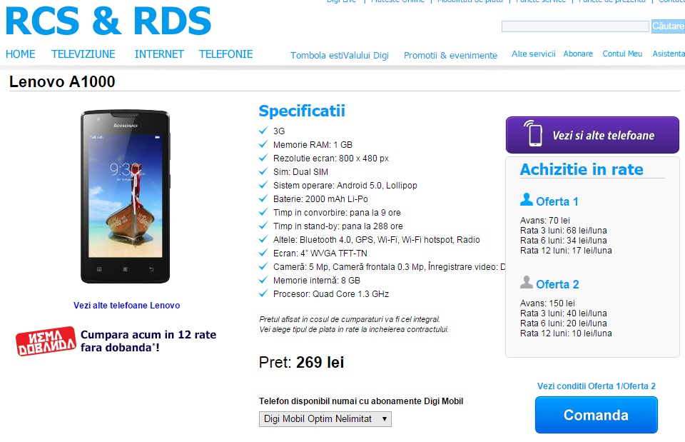 5guy Lenovo A1000 telefon ieftin in oferta Digi Mobil la abonament