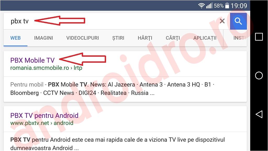 1 Posturi tv online din Romania pe telefon Android cu pbxtv