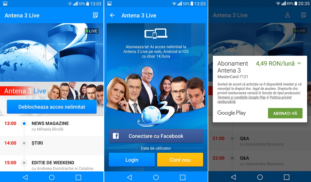 Screenshot_2015-11-07-13-03-33 Aplicatia Antena 3 Live costa, B1TV se vede gratis pe telefon cu Android