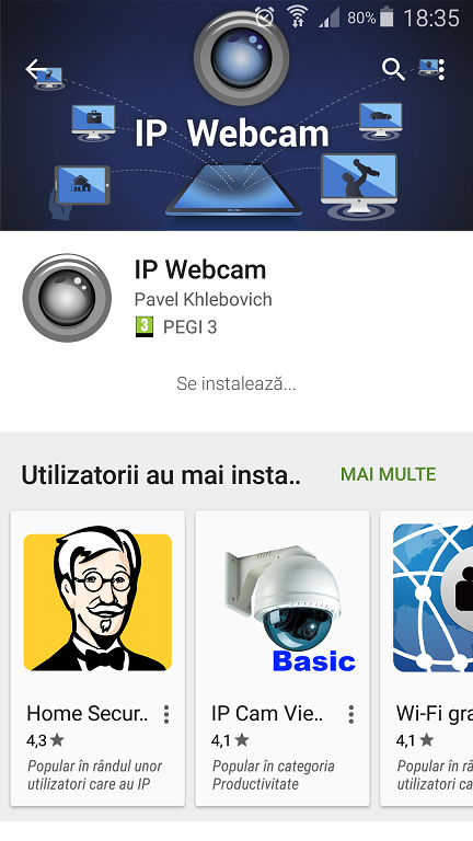 IP webcam aplicatie ce transforma telefonul Android intr-o camera web WiFi