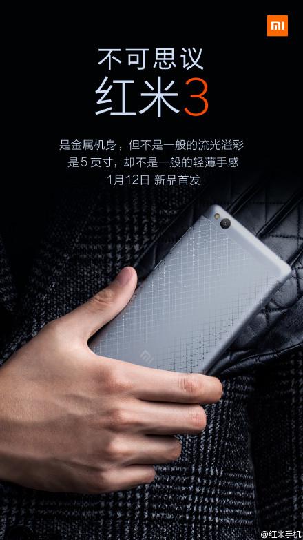 Xiaomi Redmi 3 baterie de 4.100 mAh si 2 GB RAM, pret 450 lei