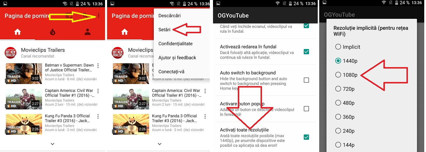 ooo OG YouTube deblocheaza pe telefon rezolutiile 720p, 1080p sau 1440p