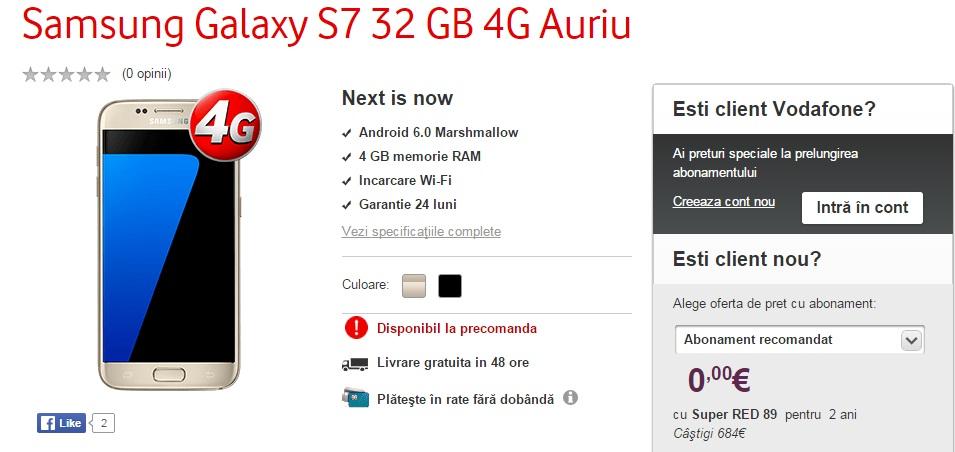565656 Samsung Galaxy S7 pret 0 lei in oferta Vodafone la abonament!
