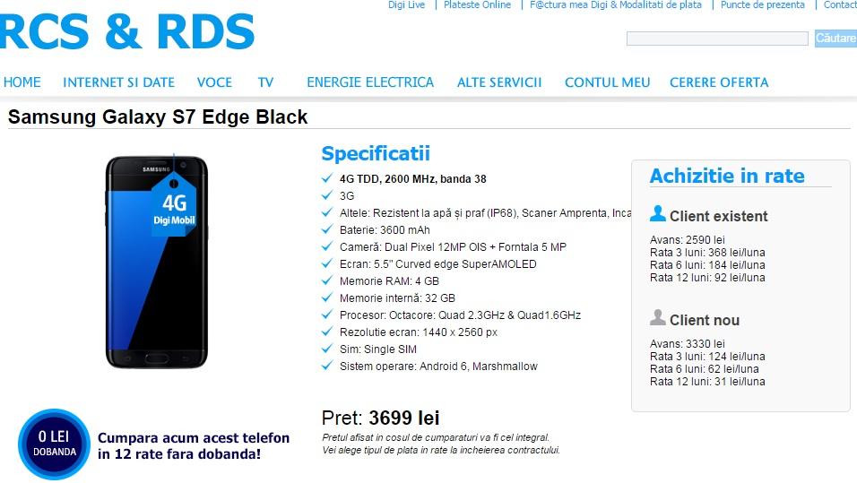 er Samsung Galaxy S7 si S7 Edge la Digi Mobil, in rate fara dobanda
