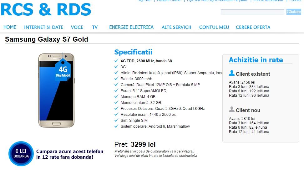 ff Samsung Galaxy S7 si S7 Edge la Digi Mobil, in rate fara dobanda