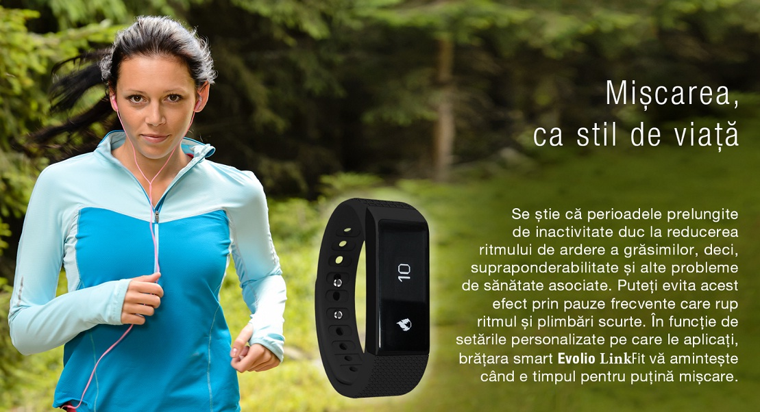 88 Produs nou - bratara fitness Smart Evolio LinkFit cu bluetooth