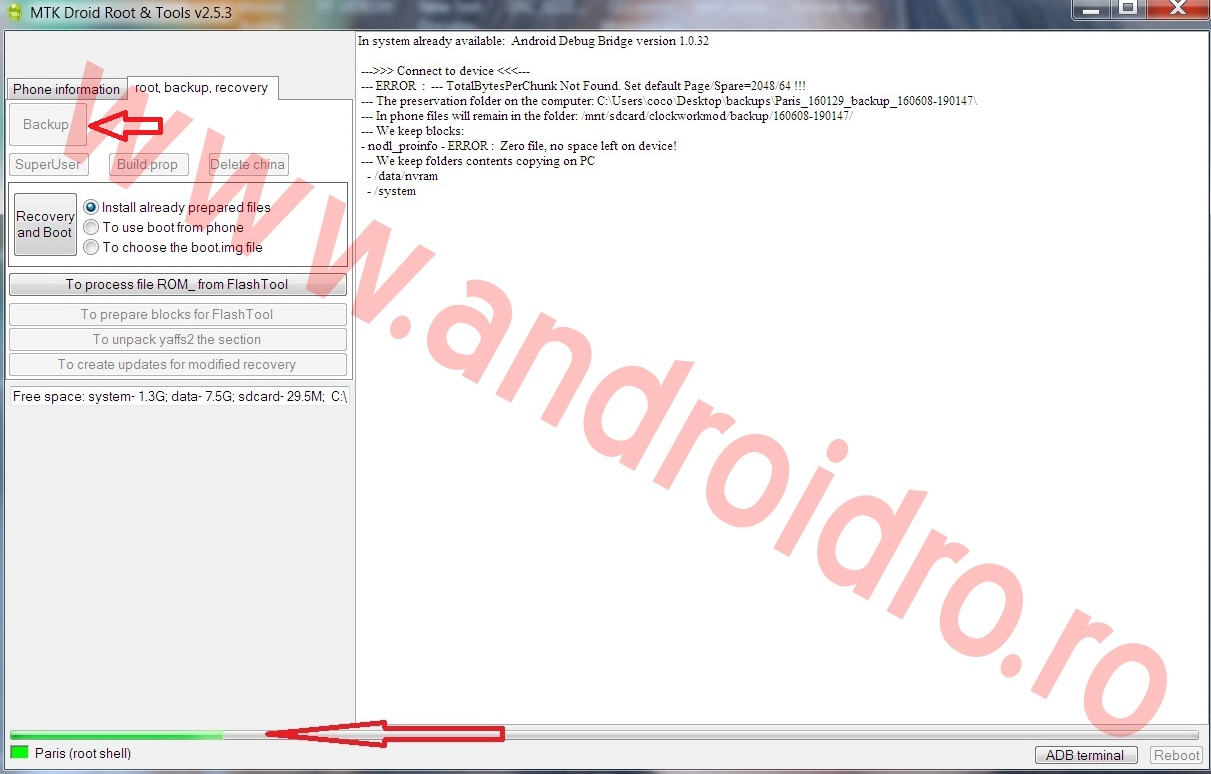 3 Tutorial, cum faci un full backup ROM pe MediaTEK cu MTK DROID TOOLS