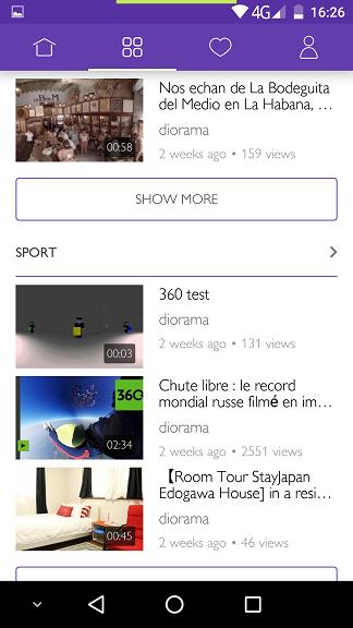 Aplicatia Diorama 360 VR pentru clipuri in format 360 grade si ochelari VR