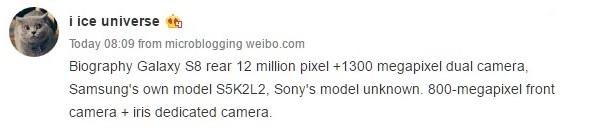 ddd Samsung Galaxy S8 va veni cu camera foto duala, senzor Sony si S5K2L2 !