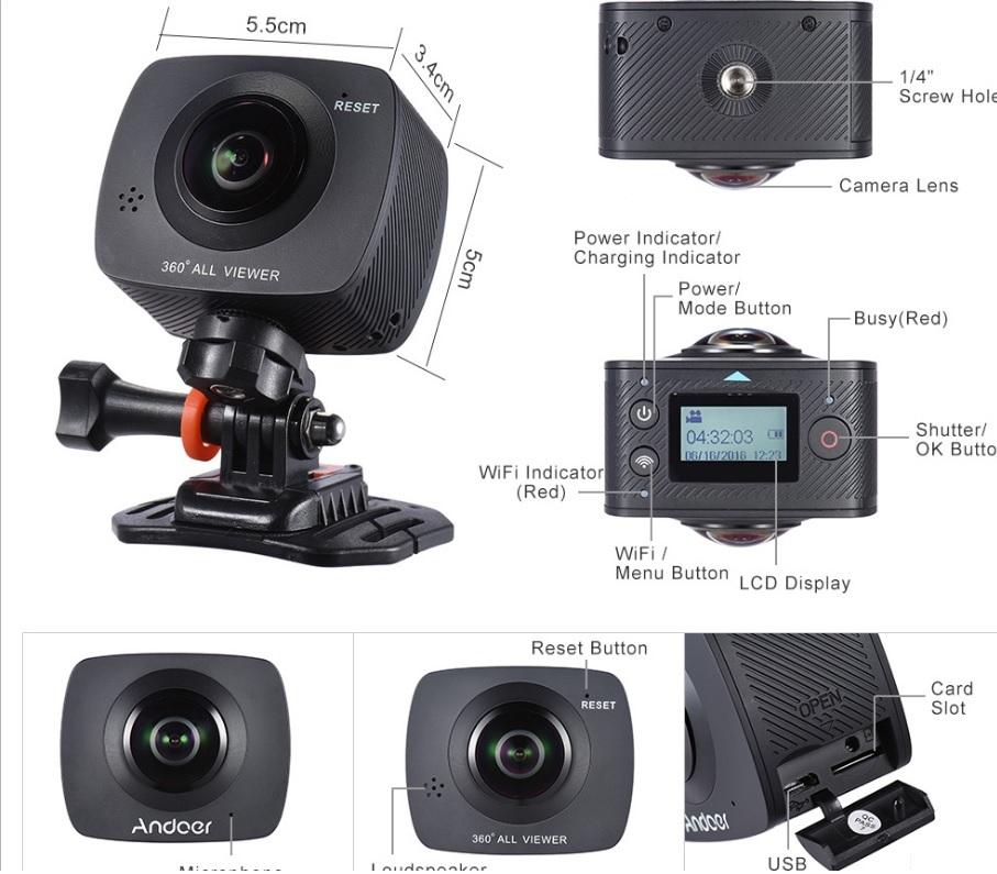 andoer Andoer - camera video sport VR cu lentile wide, unghi 220 grade si senzor de 8MP