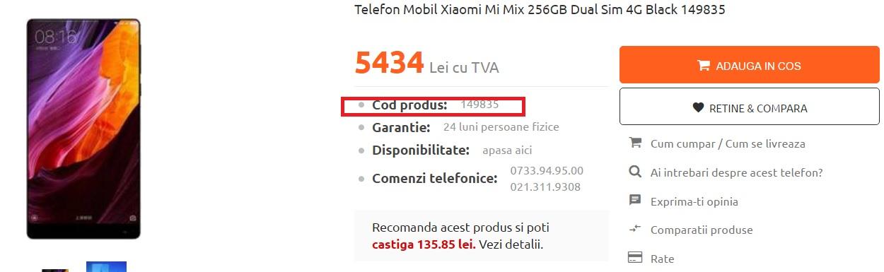 1233 Ce magazin din Romania vinde cel mai ieftin Xiaomi Mi MIX de 256 GB?
