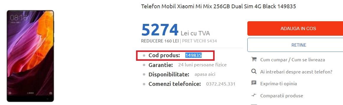 1234 Ce magazin din Romania vinde cel mai ieftin Xiaomi Mi MIX de 256 GB?