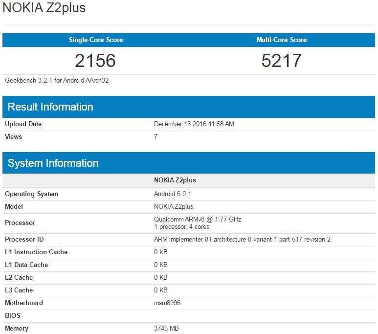 Nokia Z2 Plus apare in testul de benchmark GeekBench cu MSM8996
