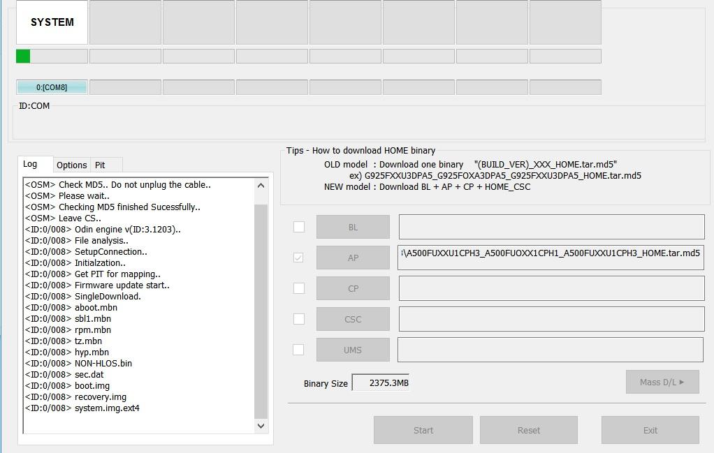 Tutorial rescriere ROM oficial Samsung Galaxy A5 SM-A500FU