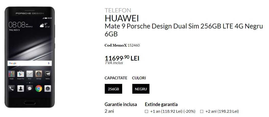 HUAWEI Mate 9 Porsche Design in Romania la quickmobile, pret mare!