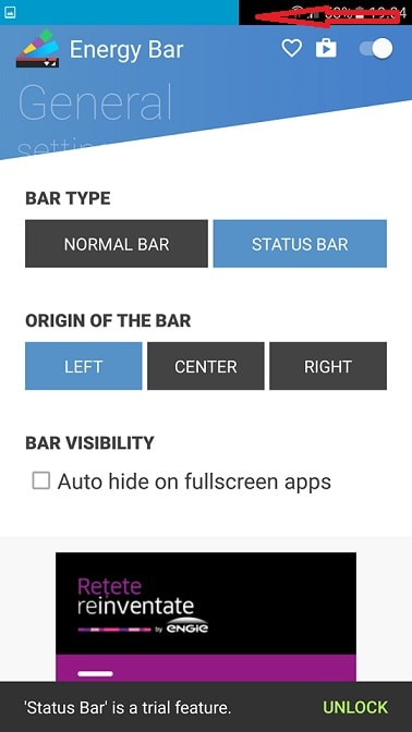 Aplicatia Android Energy Bar widget interesant pentru baterie