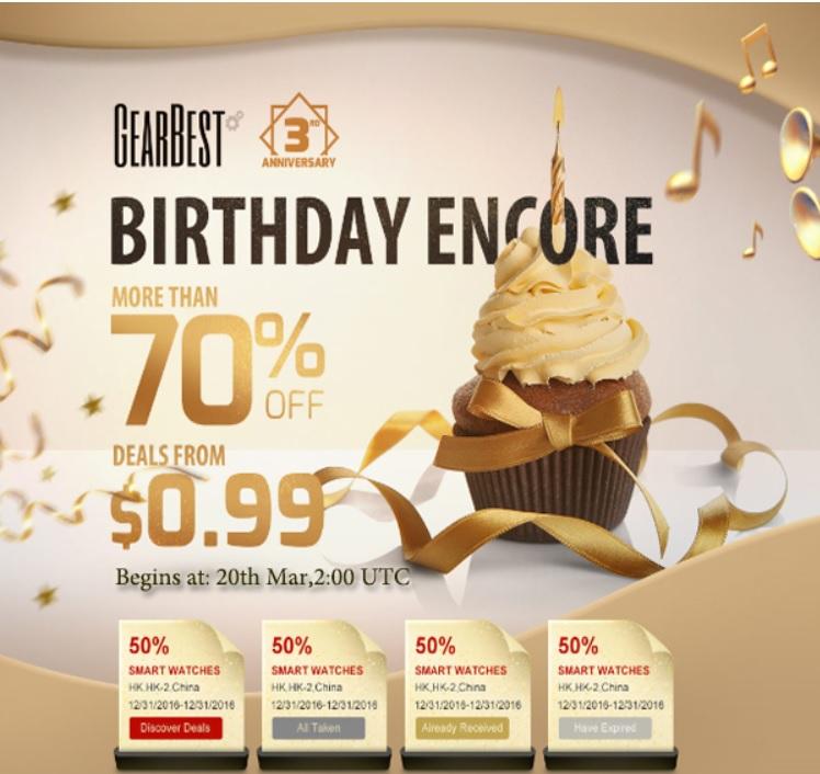 gearbest.com Reducerile finale ale magazinului gearbest.com, aniversarea de 3 ani
