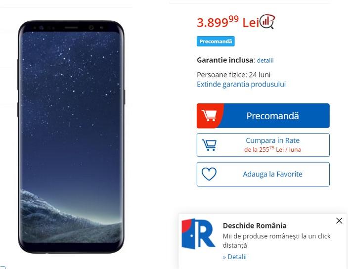 Samsung Galaxy S8, preturi in România, inclusiv eMag
