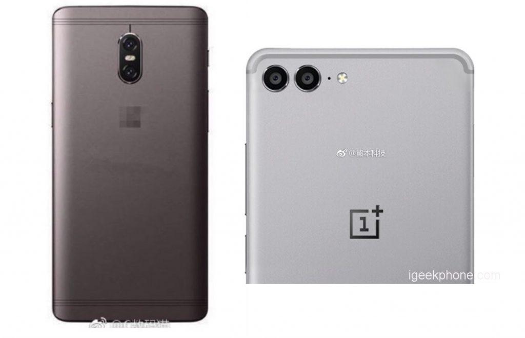 OnePlus 5 Alba-neagra cu telefonul OnePlus 5