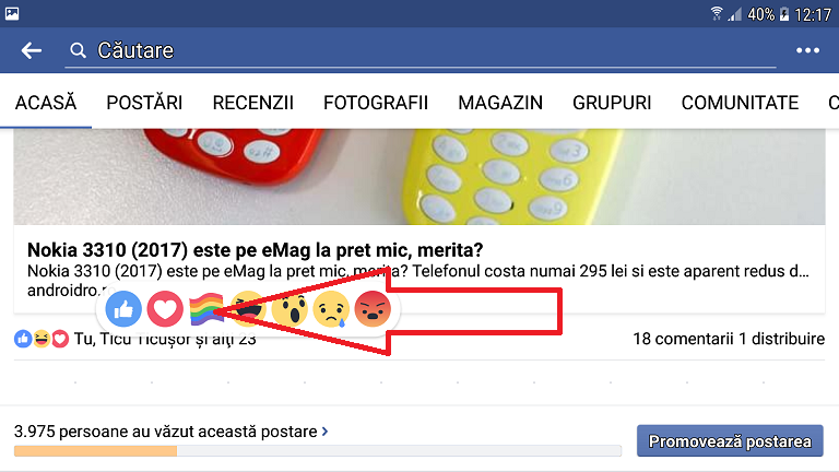 cum dai like pe facebook - steagul curcubeu, pride reaction flag