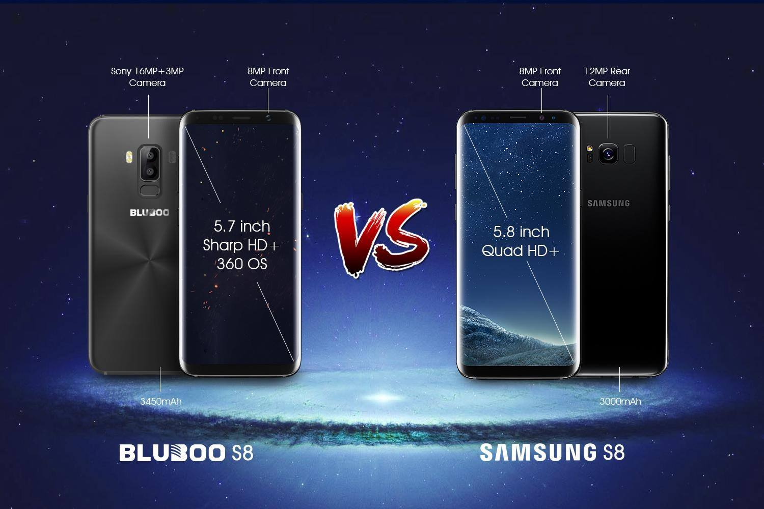 bluboo s8 comparat cu samsung galaxy s8, 80 usd vs 800 usd