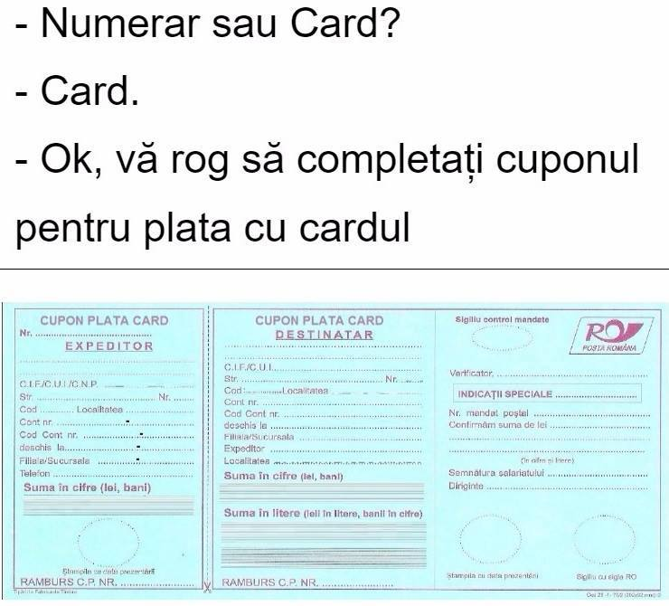 2018, plata cu cardul bancar la posta romana, minune!