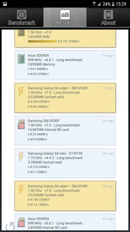 aplicatie, teste benchmark pentru cardul sd si memoria ram