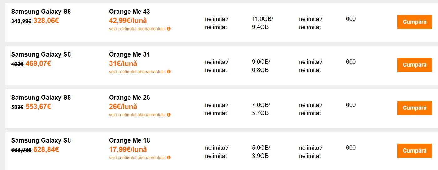 orange, vodafone si telekom, cel mai ieftin samsung s8 la abonament?