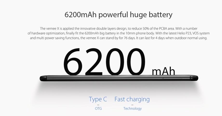 vernee x, baterie de 6200 mah si helio p23