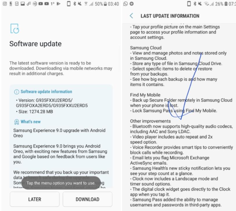 samsung galaxy s7 edge primeste update oficial la oreo