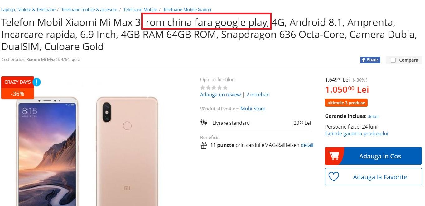 in romania se vand telefoane cu rom china, fara google play