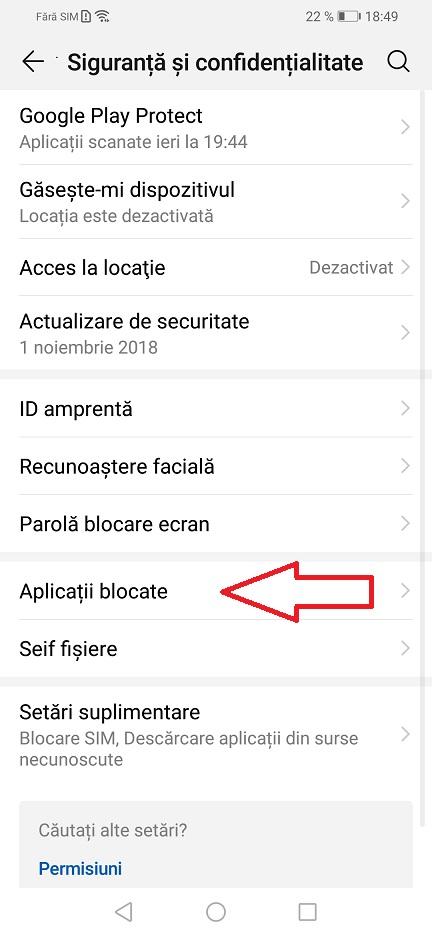 blocarea aplicatiilor cu ajutorul senzorului de amprenta