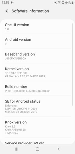Update la Android 9 PIE pe Samsung Galaxy J6