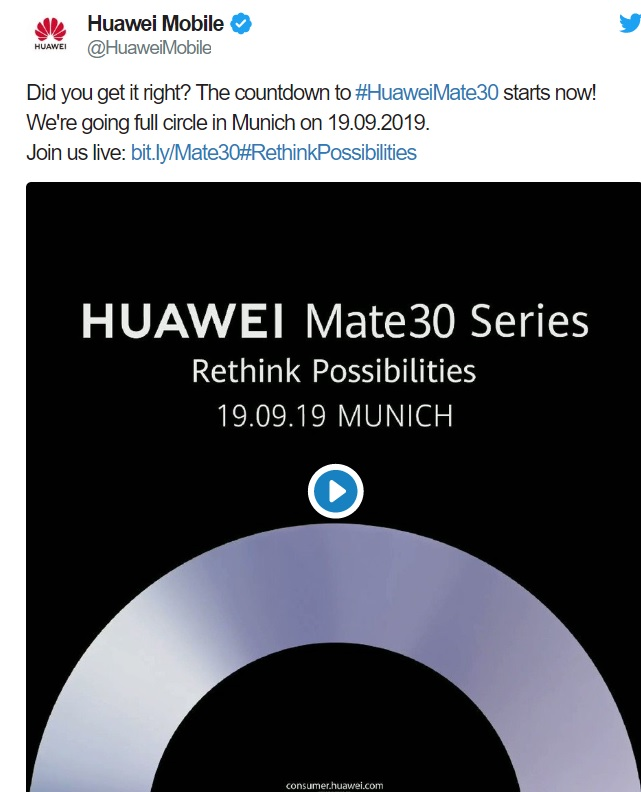 cu google play? oficial, huawei mate 30 lansare pe 16 septembrie