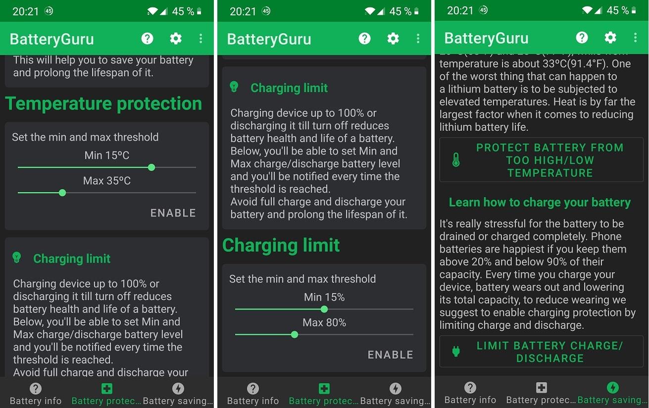 din nou despre bateria telefonului, cu aplicatia batteryguru