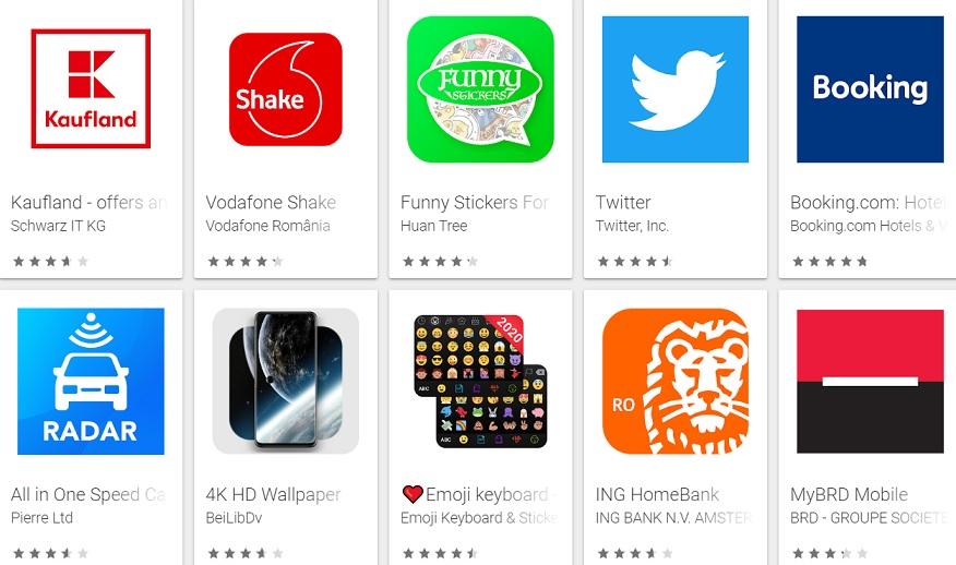top 100 cele mai descarcate aplicatii android in romania la inceput de 2020
