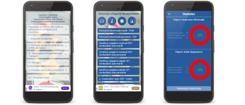 Aplicatii de chestionare auto DRPCIV pentru scoala de soferi in 2020