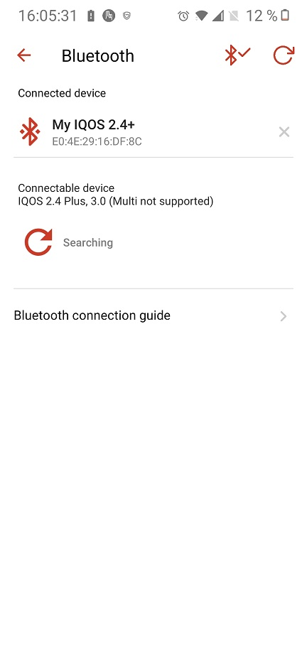conectarea prin bluetooth a unui dispozitiv iqos, aplicatia mobila