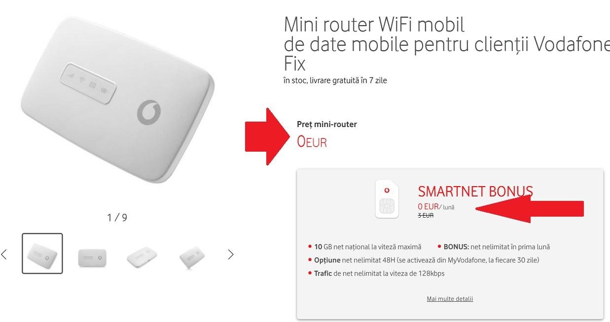 Gratuit mini router WiFi si internet de la Vodafone